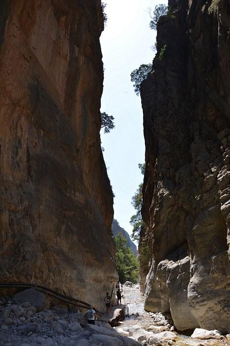 Wąwóz Samaria - najwęższe miejsce.
