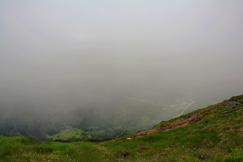 Krajobraz naMały Staw zbrzegu Kotła Małego Stawu.
