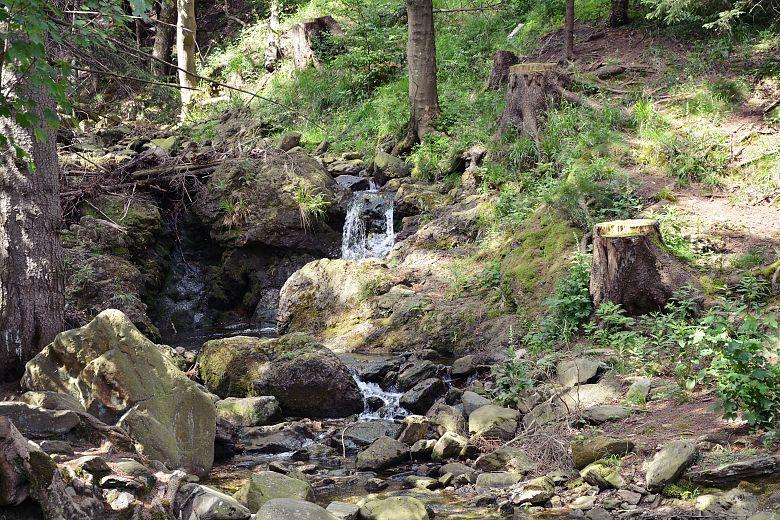 Górski potok Płomnica wzdłuż czarnego szlaku.