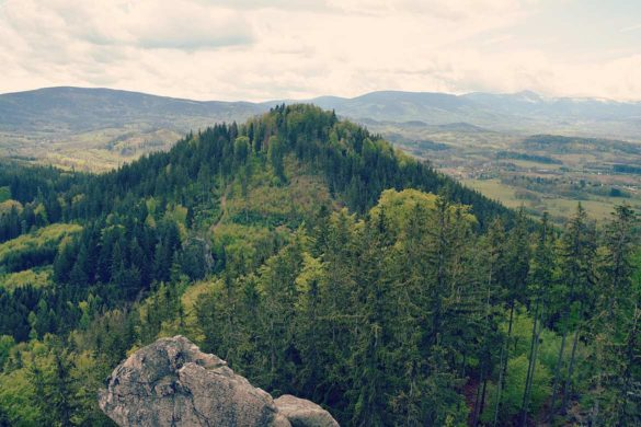 Krzyżna Góra porośnięta lasem natle Karkonoszy widoczna zSokolika.