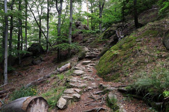 Kamienne schody naczarnym szlaku naZamek Chojnik.