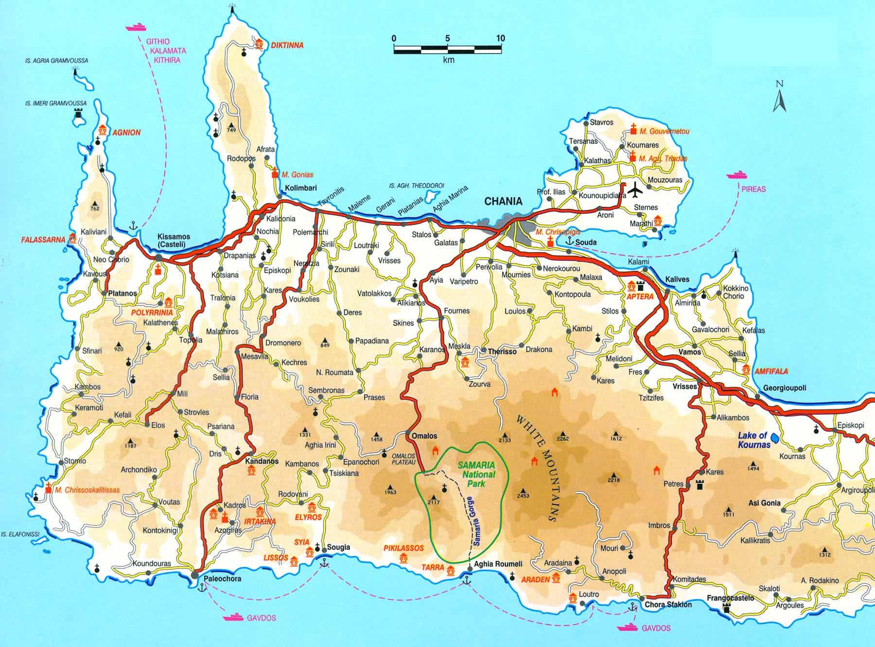 Zachodnia Kreta - mapa.